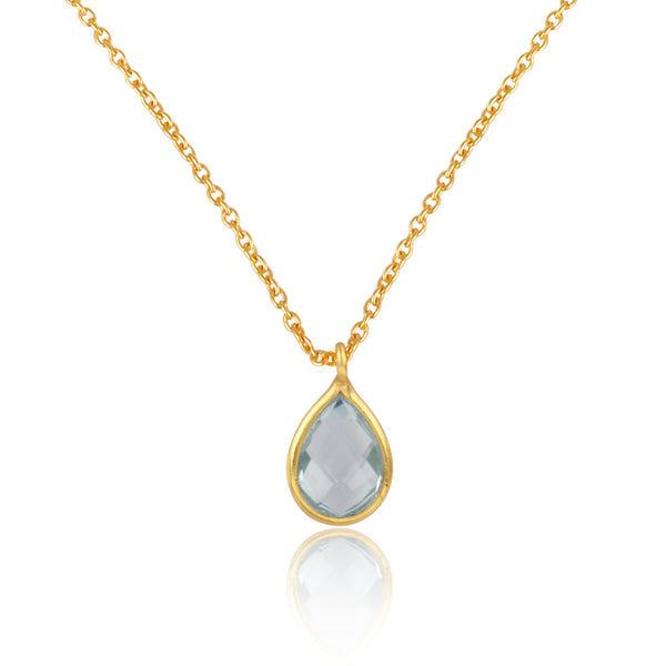 925 Silver Necklace In Pear Design With Blue Topaz Gemstone