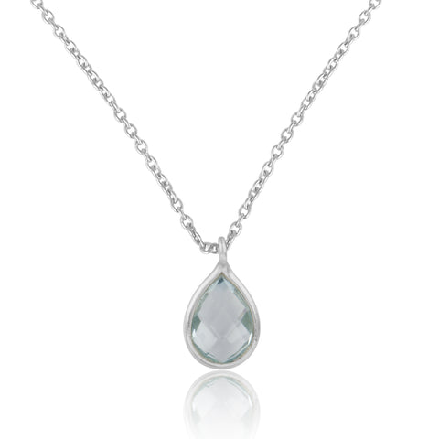 925 Silver Pendant Set In Pear Design With Blue Topaz Gemstone