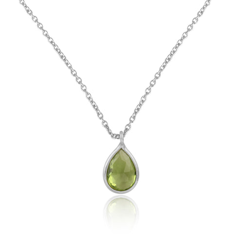 925 Silver Pendant Set In Pear Design With Peridot Gemstone