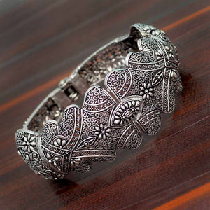 Oxidised Flower Inspired Bracelet