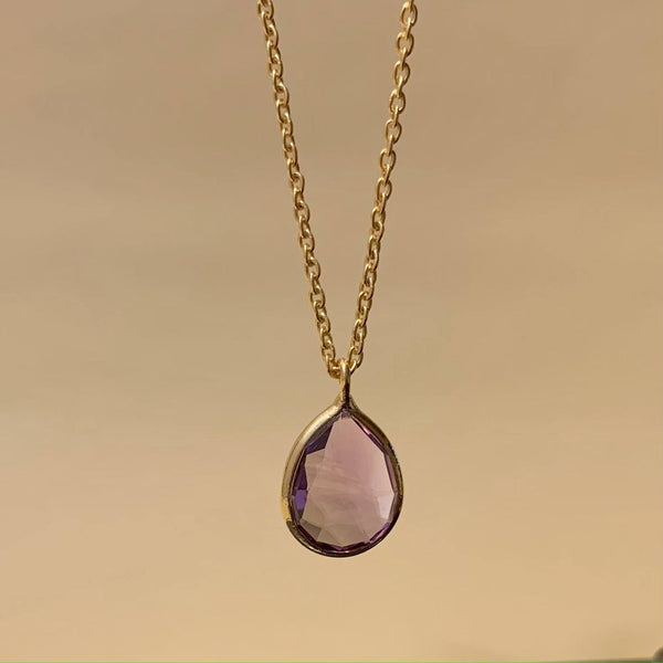 925 Silver Necklace In Pear Design With Amethyst Gemstone