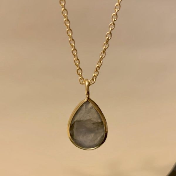 925 Silver Necklace In Pear Design With Labradorite Gemstone