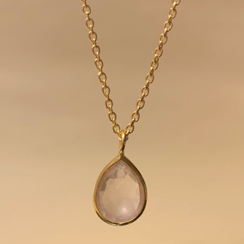 925 Silver Necklace In Pear Design With Rose Quartz Gemstone
