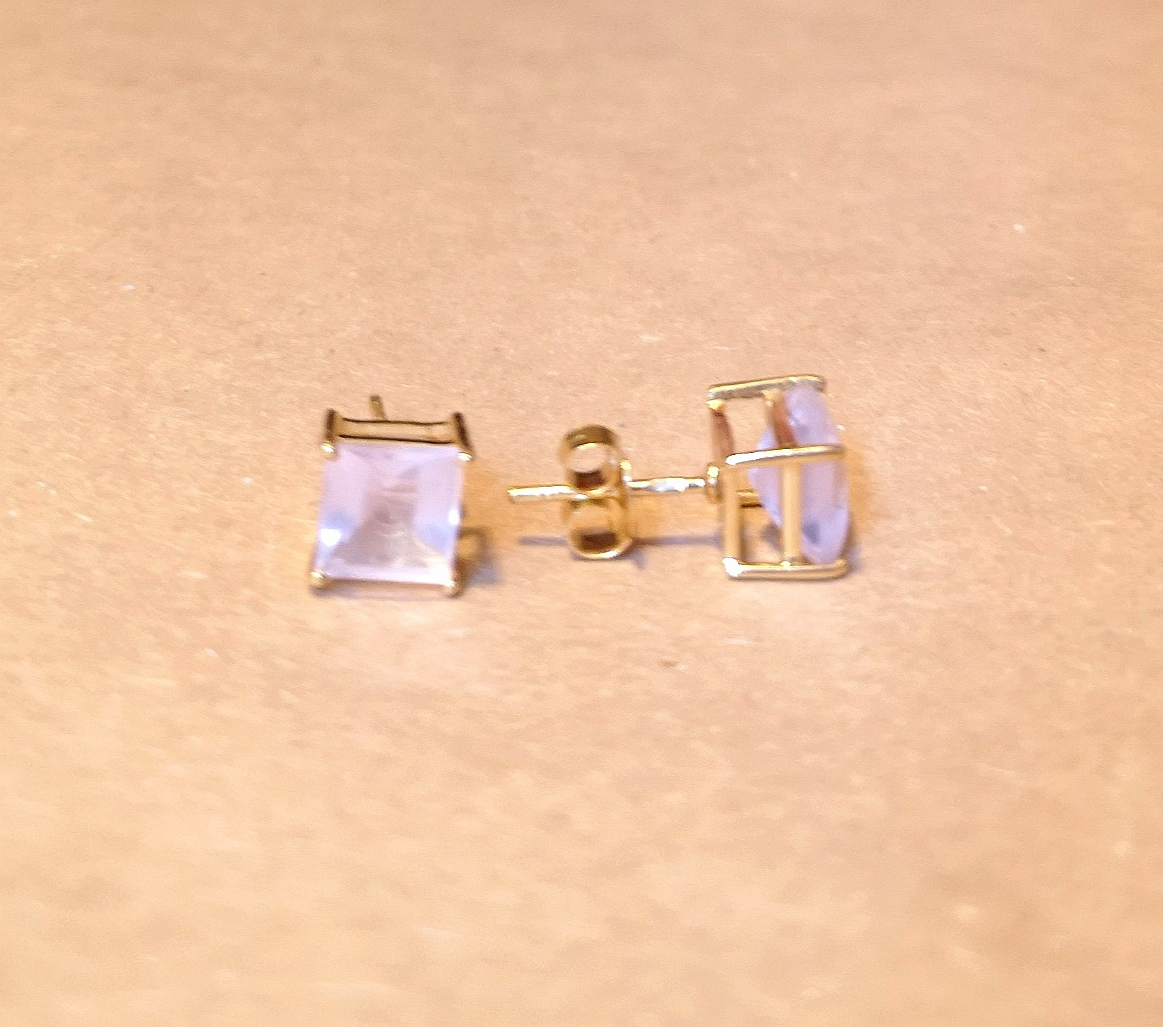 925 Silver Stud Earrings With Rose Quartz Gemstone
