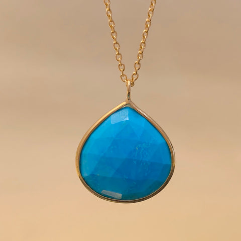 925 Silver Necklace In Pear Design With Natural Turquoise Gemstone