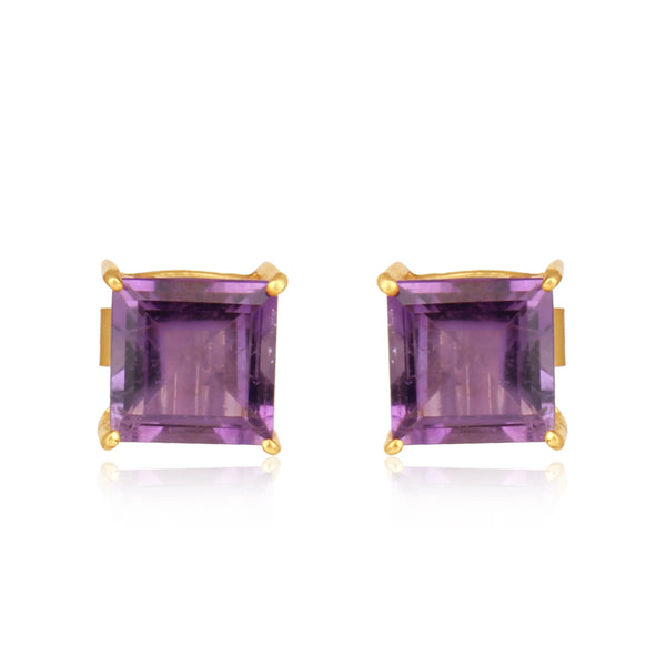 925 Silver Stud Earrings With Amethyst Gemstone