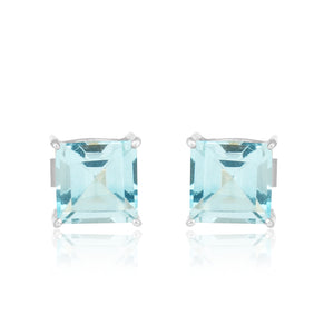 925 Silver Stud Earrings With Blue Topaz Gemstone