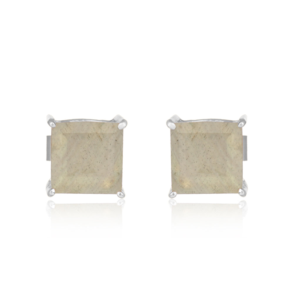 925 Silver Stud Earrings With Labradorite Gemstone