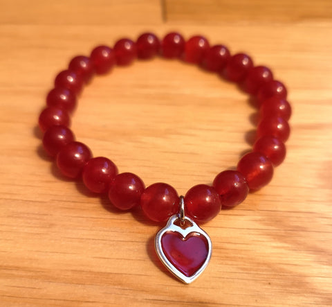 Red Onyx Bracelet with Silver Chafm