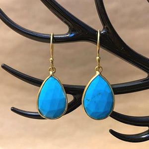 925 Silver Earrings In Pear Design with Natural Turquoise Gemstone