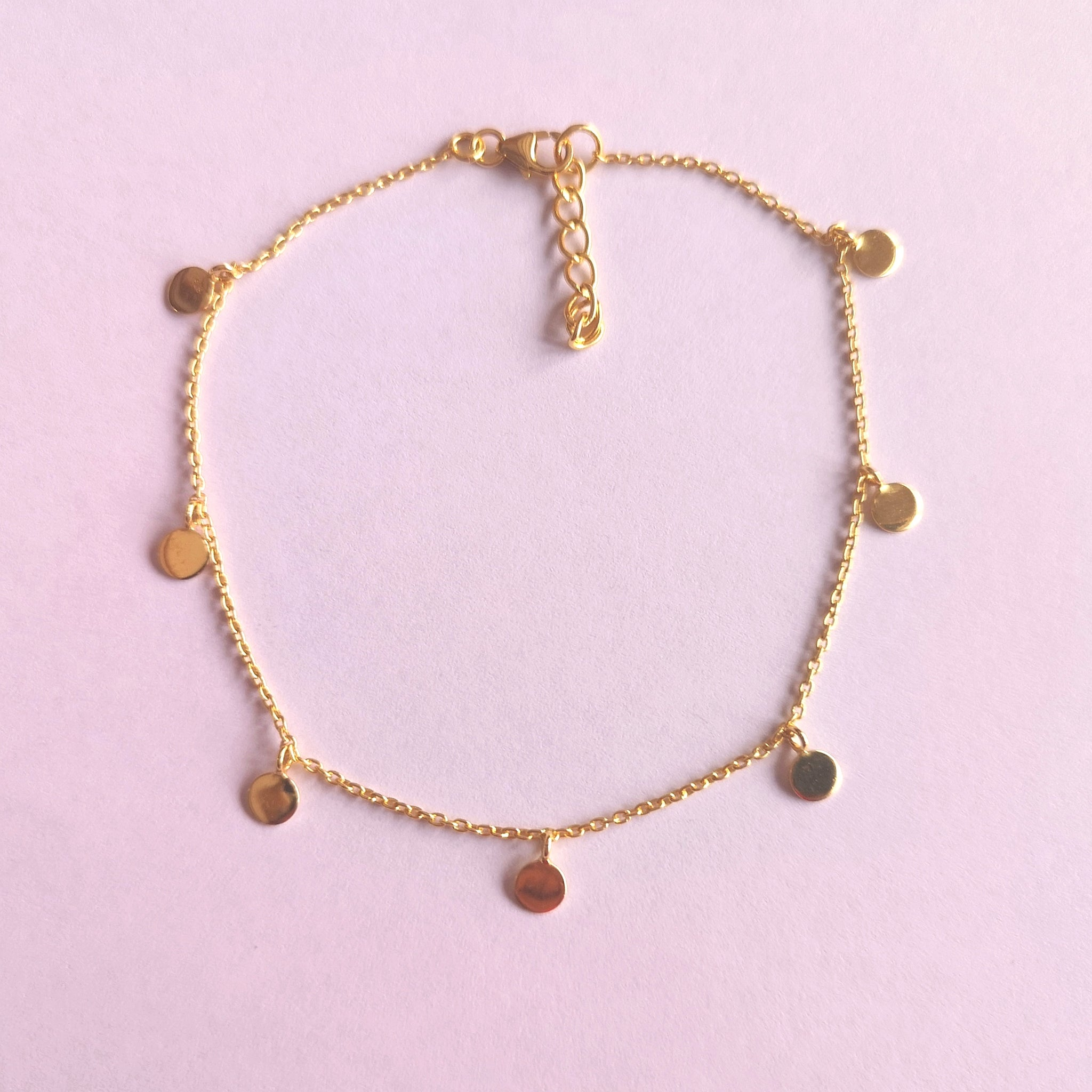 925 Silver Gold Disc Or Circle Anklet