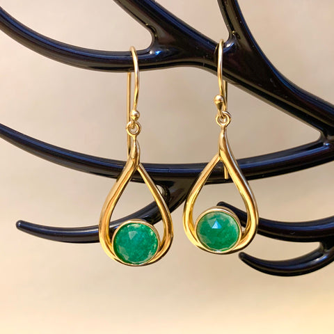 925 Silver Earrings in Dangle Drop Design With Green Aventurine