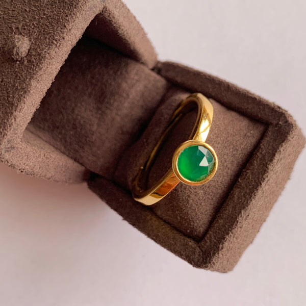 925 Silver Adjustable Ring With Green Onyx