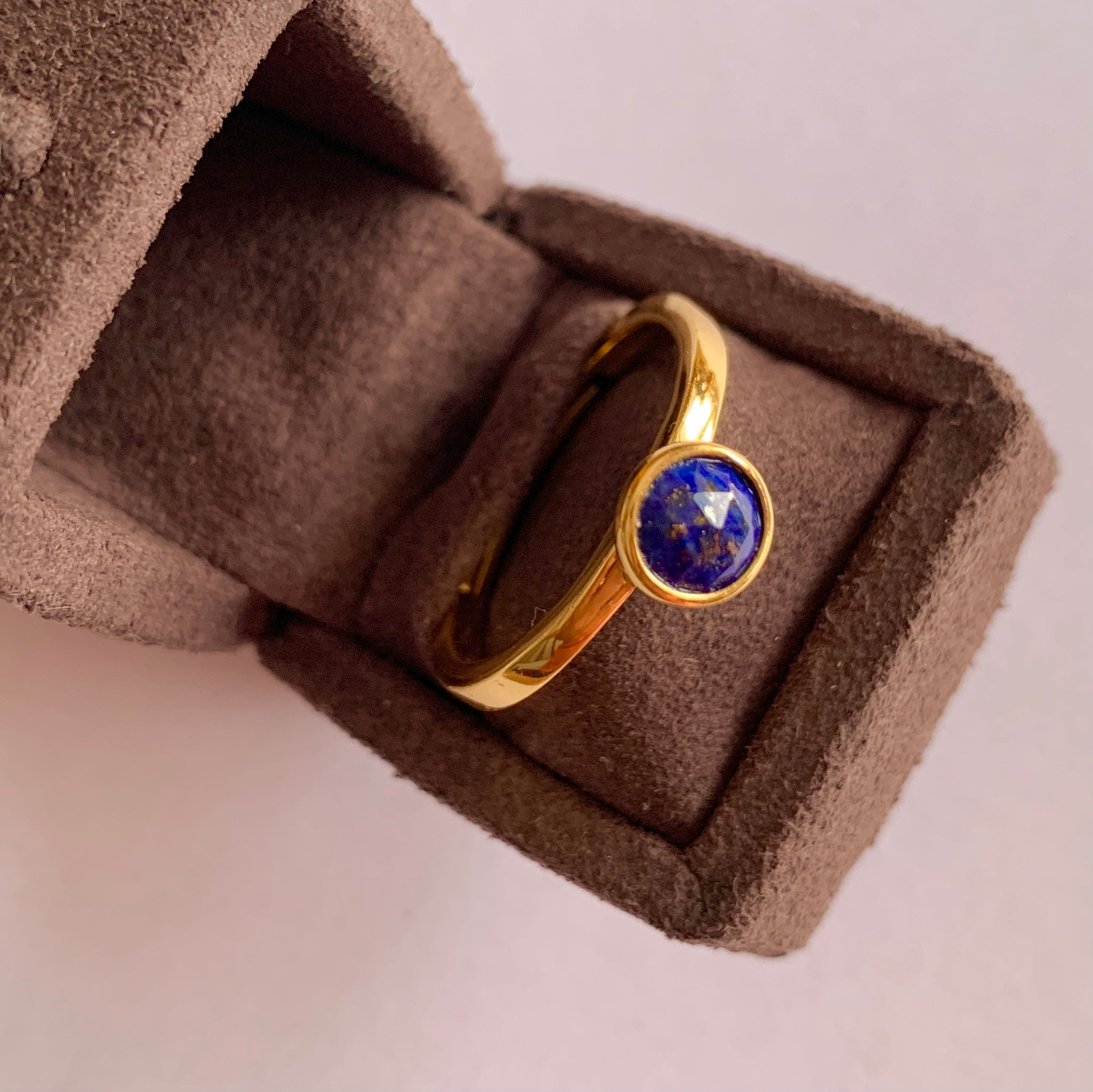 925 Silver Adjustable Ring With Lapis-Lazuli