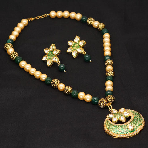 Gold Plated Meenakari Kundan Necklace Set/Green