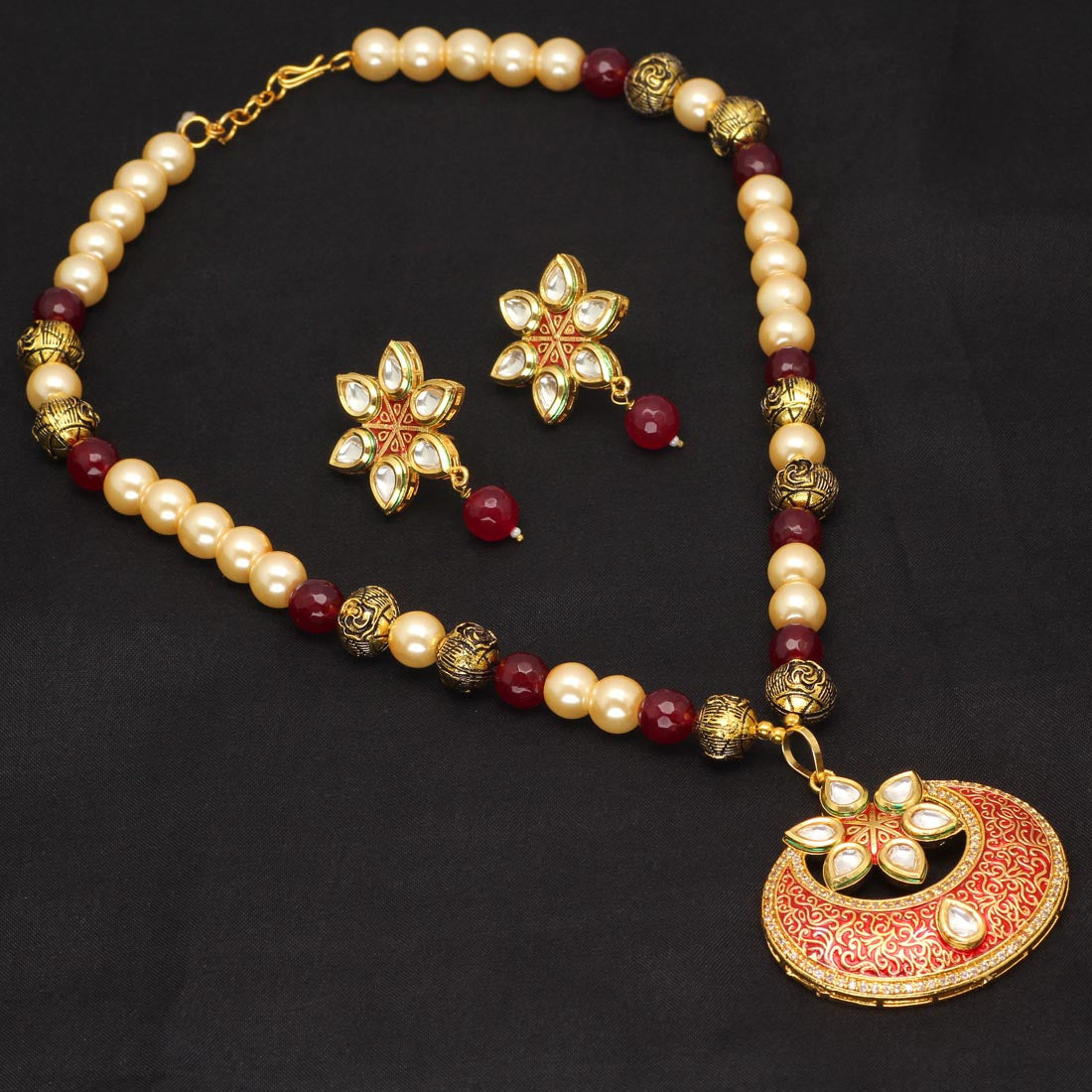 Gold Plated Meenakari Half Moon Kundan Necklace Set/Maroon