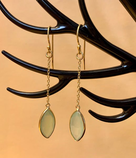 925 Silver, 18k Gold Plated Earrings with PREHNITE CHALCEDONY Gemstone