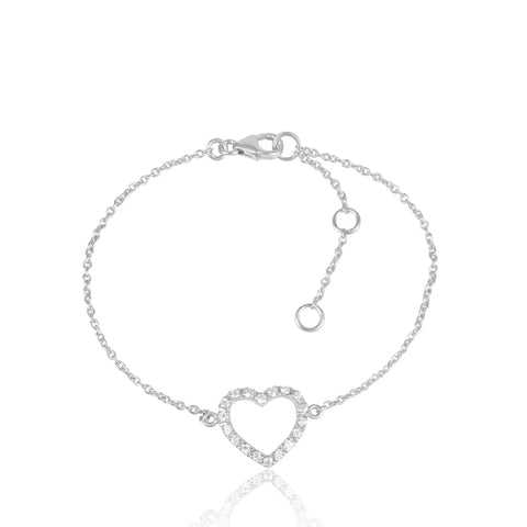 925 Silver Bracelet In HEART Design