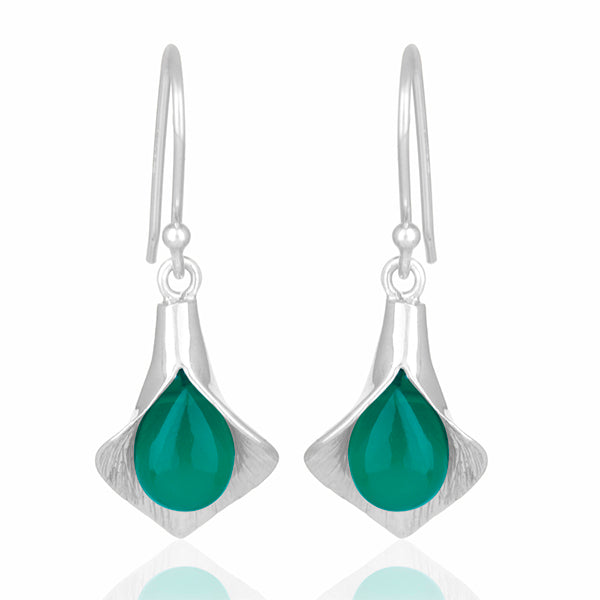 925 Silver Earrings In Lily Design With Green Onyx Gemstone