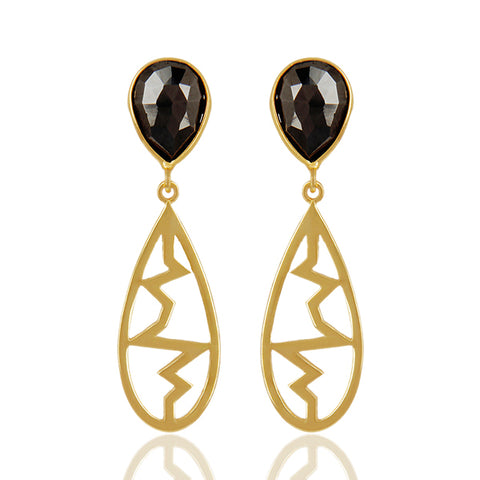 925 Silver Earrings in Heartbeat Design with Hematite Gemstone