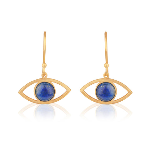 925 Silver Earrings In Evil Eye Design With Lapis Lazuli Gemstone