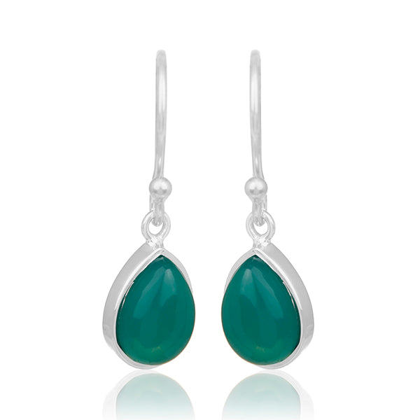 925 Silver Earrings with GREEN ONYX Gemstone