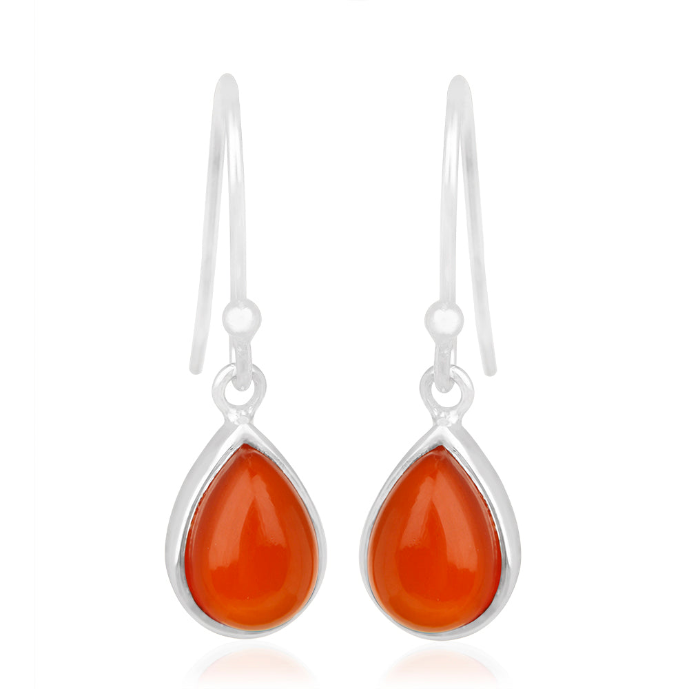 925 Silver Earrings with RED ONYX Gemstone