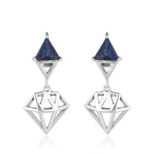 925 Silver Earrings In Diamond Chakra Design With Lapis Lazuli Gemstone