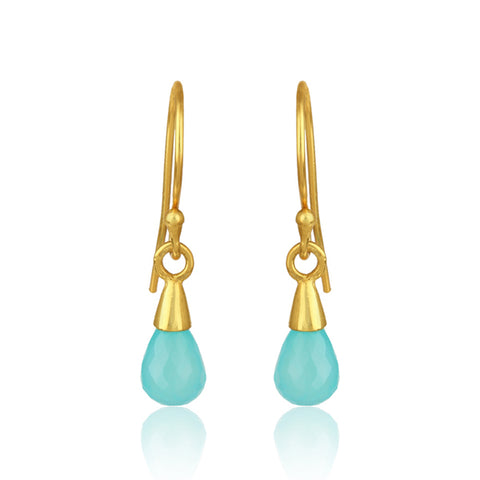 925 Silver Earrings in Dangle Design with Aqua Chalcedony Gemstone