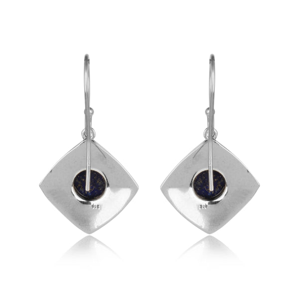 925 Silver Earrings In Rebound Design With Lapis Lazuli Gemstone