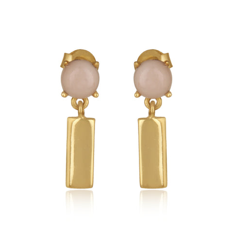 925 Silver Earrings In Bar Design With Pink Opal Gemstone