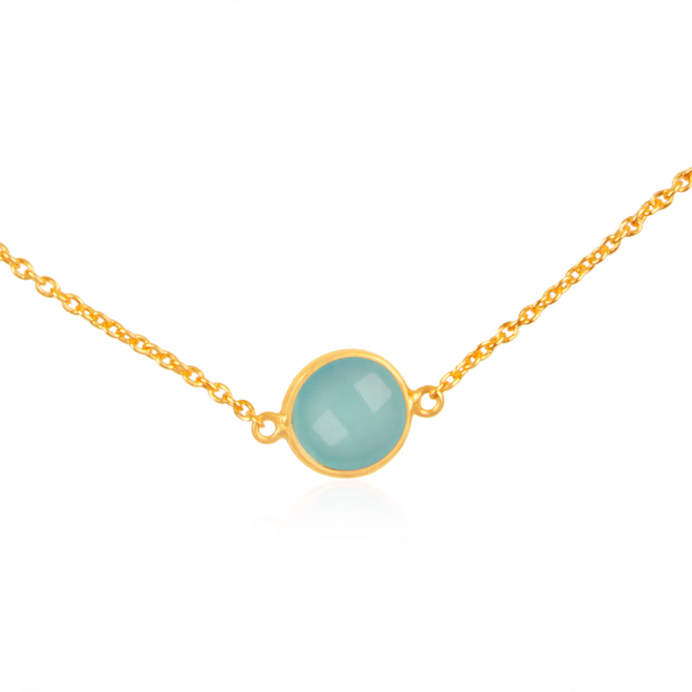 925 Silver Necklace In Dancing Hopes Design With Aqua Chalcedony Gemstone