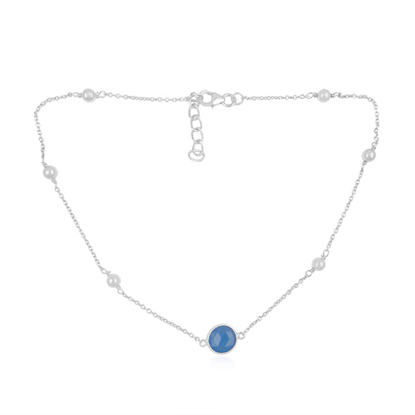 925 Silver Necklace in Dancing Hopes Design with Blue Chalcedony Gemstone