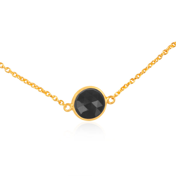 925 Silver Necklace In Dancing Hopes Design With Black Onyx Gemstone