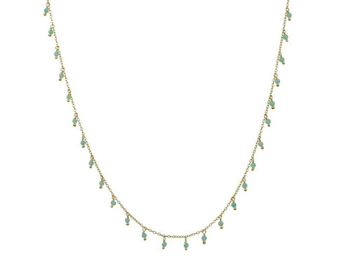 925 Silver Choker Necklace With Dangling Amazonite Gemstone