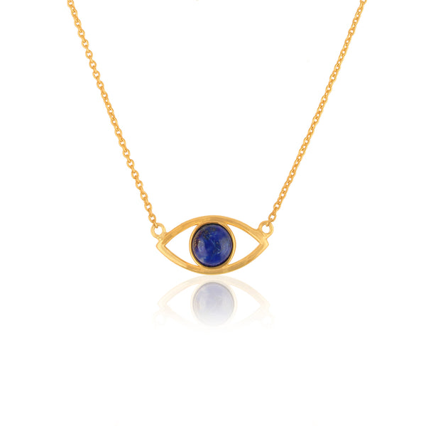 925 Silver Necklace In Evil Eye Design With Lapis Lazuli Gemstone