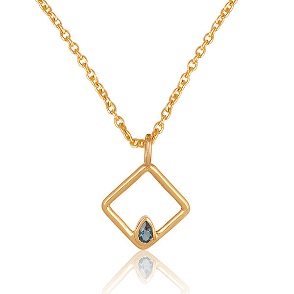 925 Silver Necklace In Square Design With Blue Topaz Gemstone