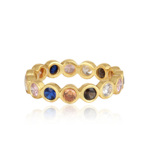 925 Silver Multi Color Ring In Eternity Design With Zirconia Stones