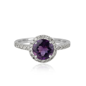 925 Silver Ring In Halo Design With Amethyst Gemstone