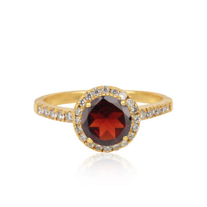 925 Silver Ring In Halo Design With Garnet Gemstone