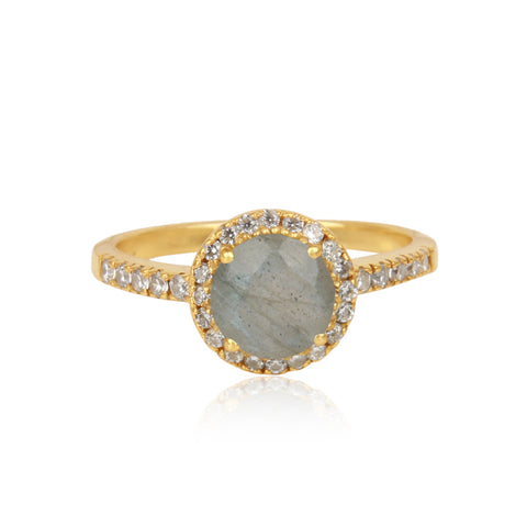 925 Silver Ring In Halo Design With Labradorite Gemstone