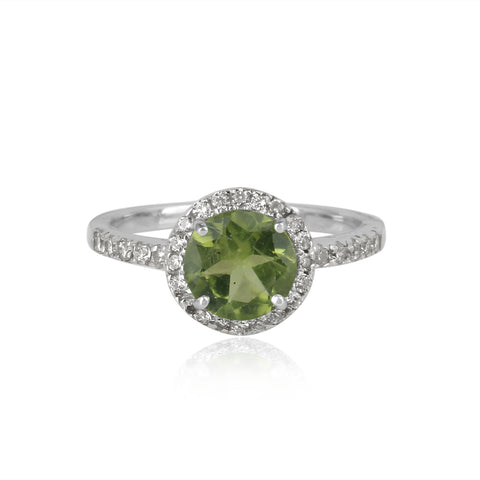 925 Silver Ring In Halo Design With Peridot Gemstone