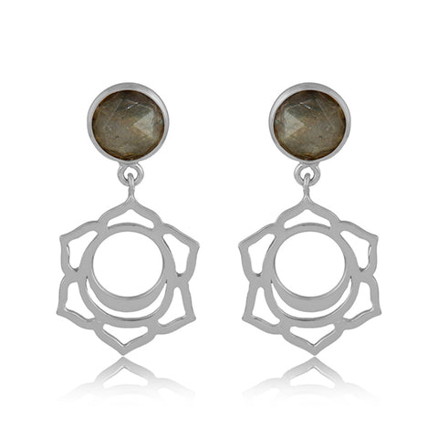 925 Silver Earrings in Sacral Chakra Design with Labradorite Gemstone