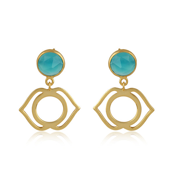 925 Silver Earrings in Ajna Chakra Design with Aqua Chalcedony Gemstone