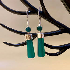 925 Silver Earrings With Gemstone Green Onyx