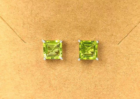 925 Silver Stud Earrings With Peridot Gemstone
