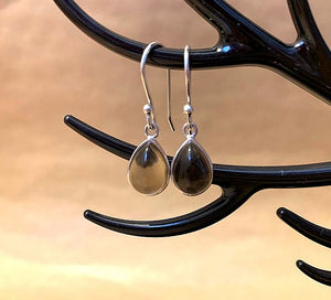 925 Silver Earrings In Pear Design With Smoky Quartz Gemstone