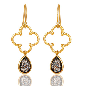 925 Silver Gold Plated Earrings with RUTILE BLACK Gemstone