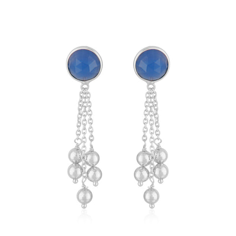 925 Silver Earrings In Dancing Hopes Design With Blue Chalcedony Gemstone