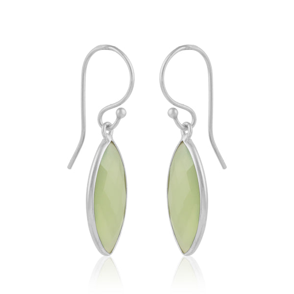 925 Silver Earrings In Candy Design With Prehnite Chalcedony Gemstone